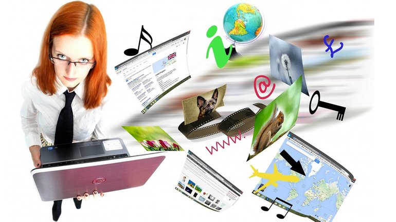 Internet Link Info Sammlung Frau Laptop